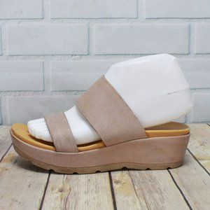 Kork-Ease Pink Tan Two Strap Wedge Sandals Sz 7 M